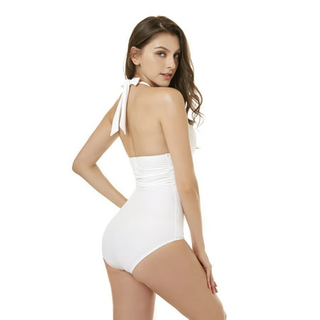 SEGMART One Piece Swimsuits for Women, Push up monokini swimsuits, Tummy Control Swimwear High Waist Bathing Suits, White, I6851](Panda Suit For Sale)