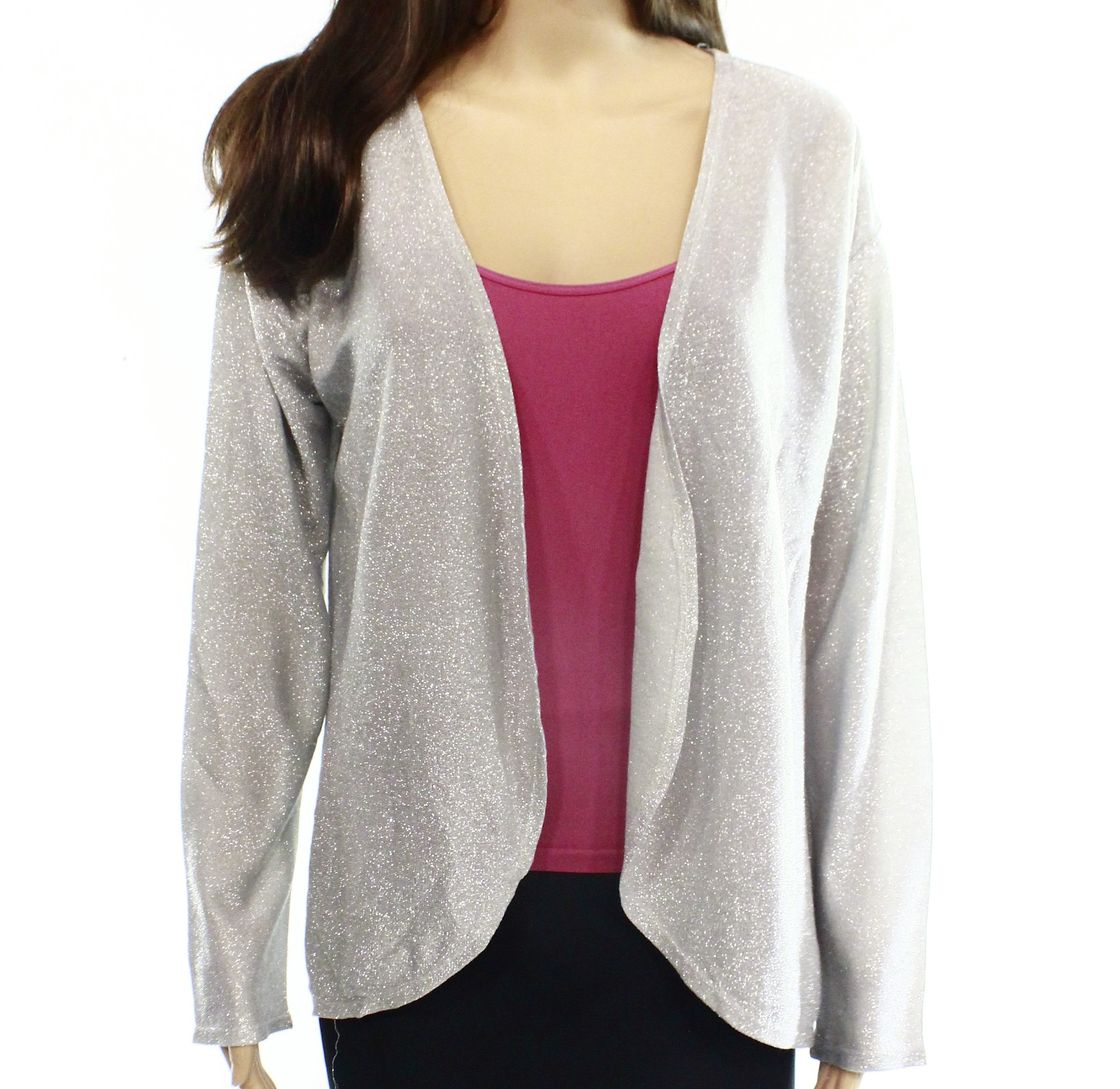 Olivia Sky NEW Silver Shimmer Women's Size Small S Cardigan Sweater