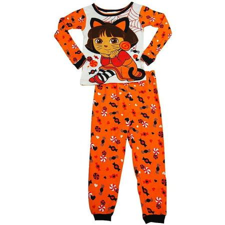 Dora the Explorer - Baby Girls Long Sleeve Halloween Pajamas Orange Halloween / 24 (4 Piece Dora)