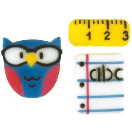 Ready For School Sugar Decorations Toppers Cupcake Cake Cookie Birthday Teacher Owl Ruler Notepad Favors Party 12 Count