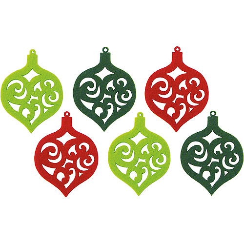 Feltworks Laser Cut Ornaments, Green, Lime and Red, 6pk