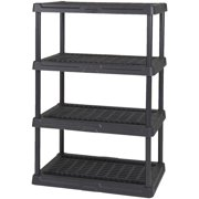 Contico 36 x 18 x 54 Inches 4 Tier Resin Outdoor and Garage Storage Shelf, Black