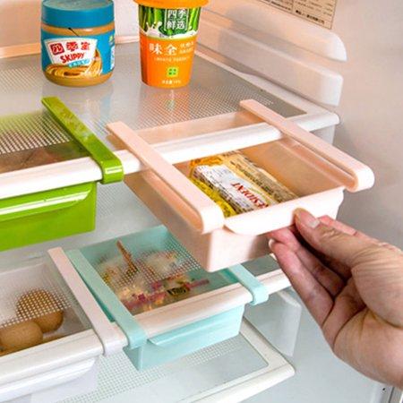Ménage Plastique Réfrigérateur Rangement Tiroir Coulissant étagère Plateau Vert - image 1 de 3