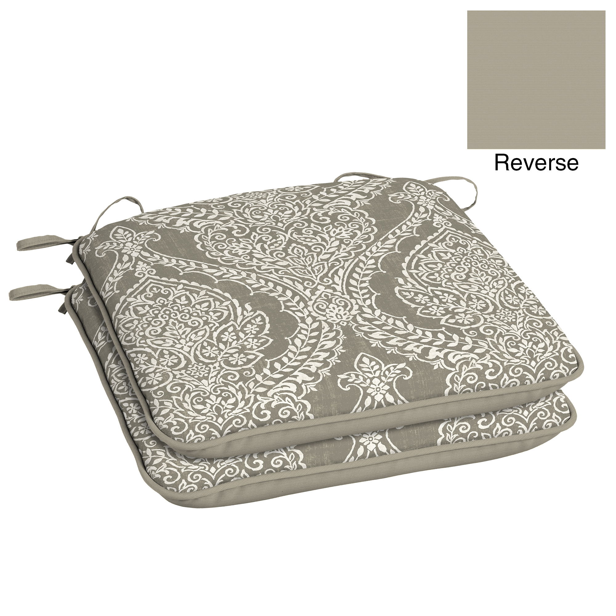 Better Homes and Gardens Grey Damask Outdoor Universal Seat Pad - Set of 2