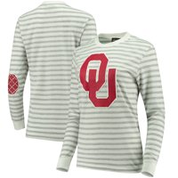 Oklahoma Sooners Women's Elbow Patch Striped Long Sleeve T-Shirt - Heathered Gray/White