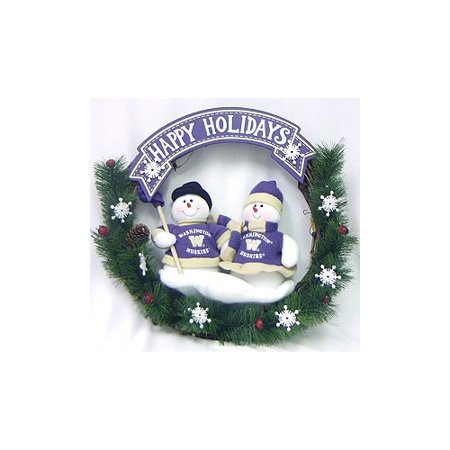 Washington Huskies Official NCAA Team Snowman Wreath by SC Sports 041634