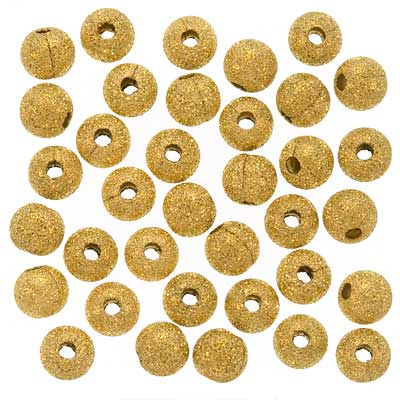 22K Gold Plated Stardust Sparkle Round Beads 5mm (50)