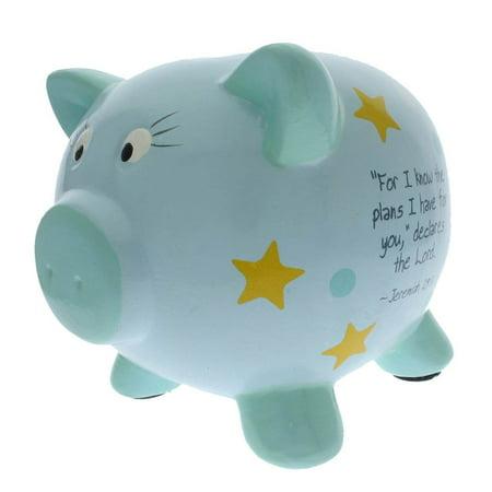 Blue Inspirational Ceramic Piggy Bank for Boys Boy Train Bank