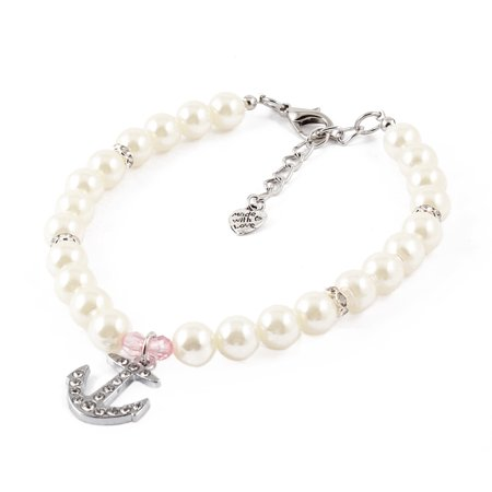 Unique Bargains White Faux Pearl Detail Lobster Clasp Pet Dog Yorkie Collar Necklace L