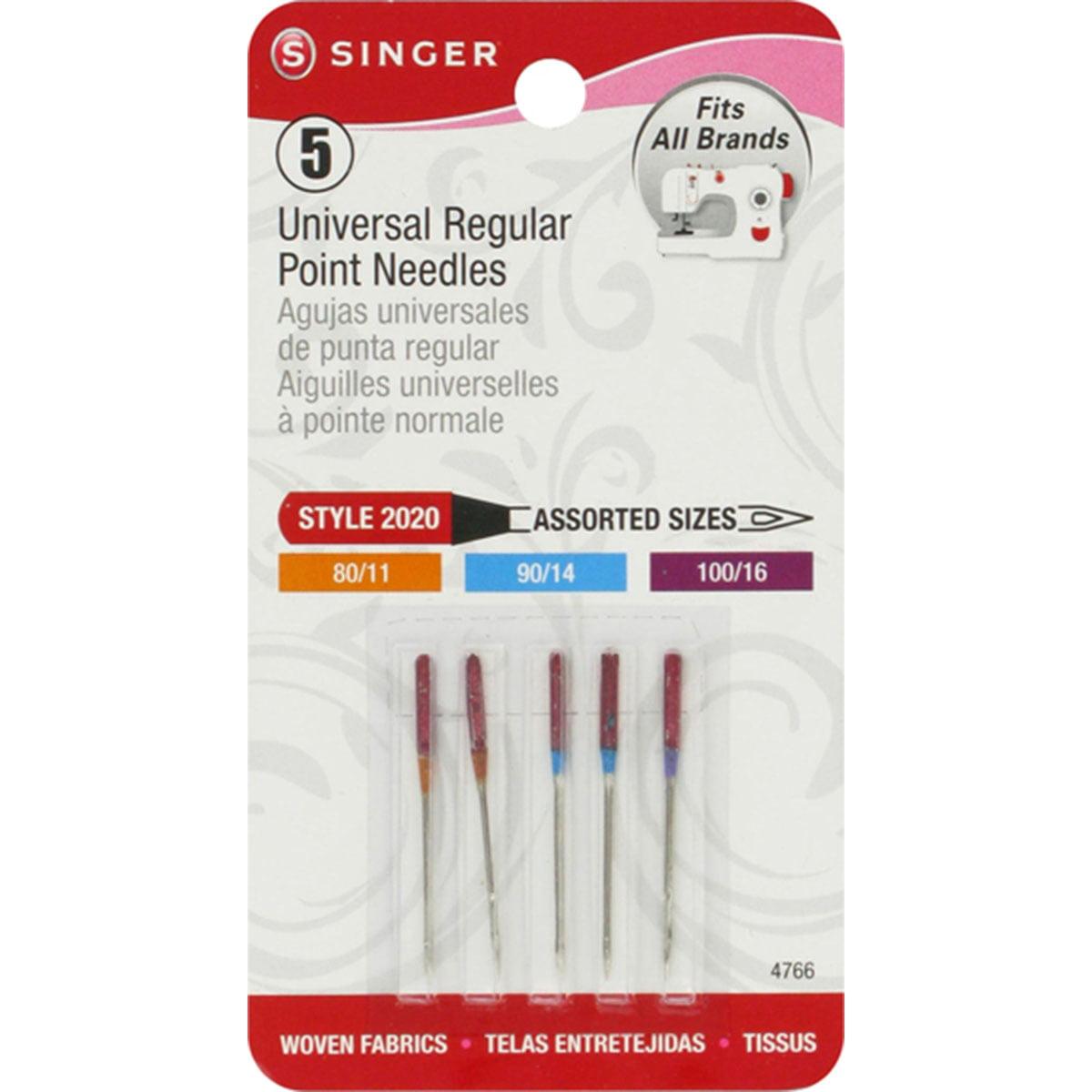 Singer Universal Regular Point Machine Needles-Sizes 11/80 (2), 14/90 (2) & 16/100 (1)
