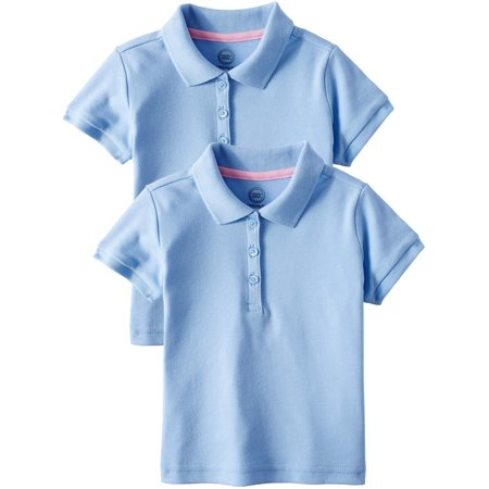 Wonder Nation Toddler Girls School Uniform Short Sleeve Interlock Polo, 2-Pack Value (School Embroidered Toddler Polo)