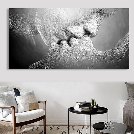 Unframed Fashion Black & White Affectionate Love Kiss Abstract Photos Art on Canvas Painting Wall Art Picture Print Artwork for Living Room Bedroom Office Wall Require a (Photo Canvas Cover)