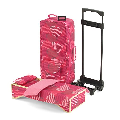 18-inch Doll Accessories | Travel Carrier with Trolley + Backpack Straps and Doll Bed |