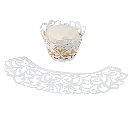 White Laser Cut Cupcake Collars Wrappers -24 ct - Bandana Cupcake Wrappers