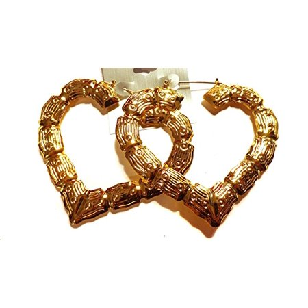 Bamboo Gold Tone Heart Earrings 3.5 inch (Gold Tone Bamboo)
