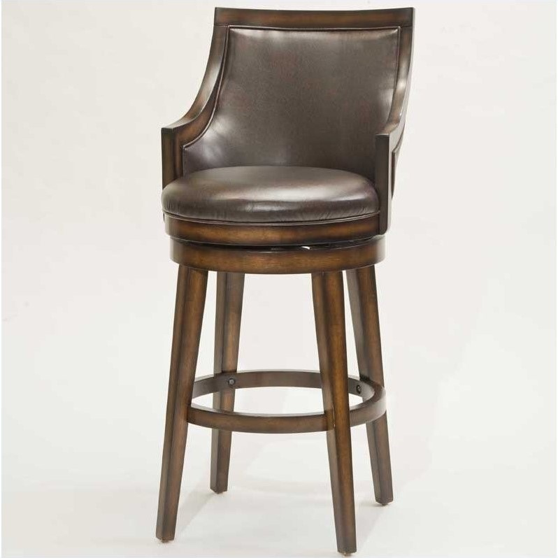"Hillsdale Lyman 26.5"" Swivel Counter Stool in Brown"