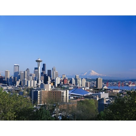 Skyline Hood (Washington Seattle Skyline With Space Needle And Snowcapped Mount Hood In Background Blue Sky PosterPrint )
