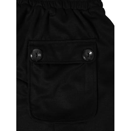 Men Elastic Waist Front Pockets Button Decor Casual Harem Pants W32/34 - image 5 of 7