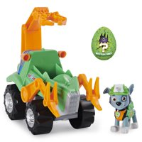 PAW Patrol, Dino Rescue Rockys Deluxe Rev Up Vehicle with Mystery Dinosaur Figure