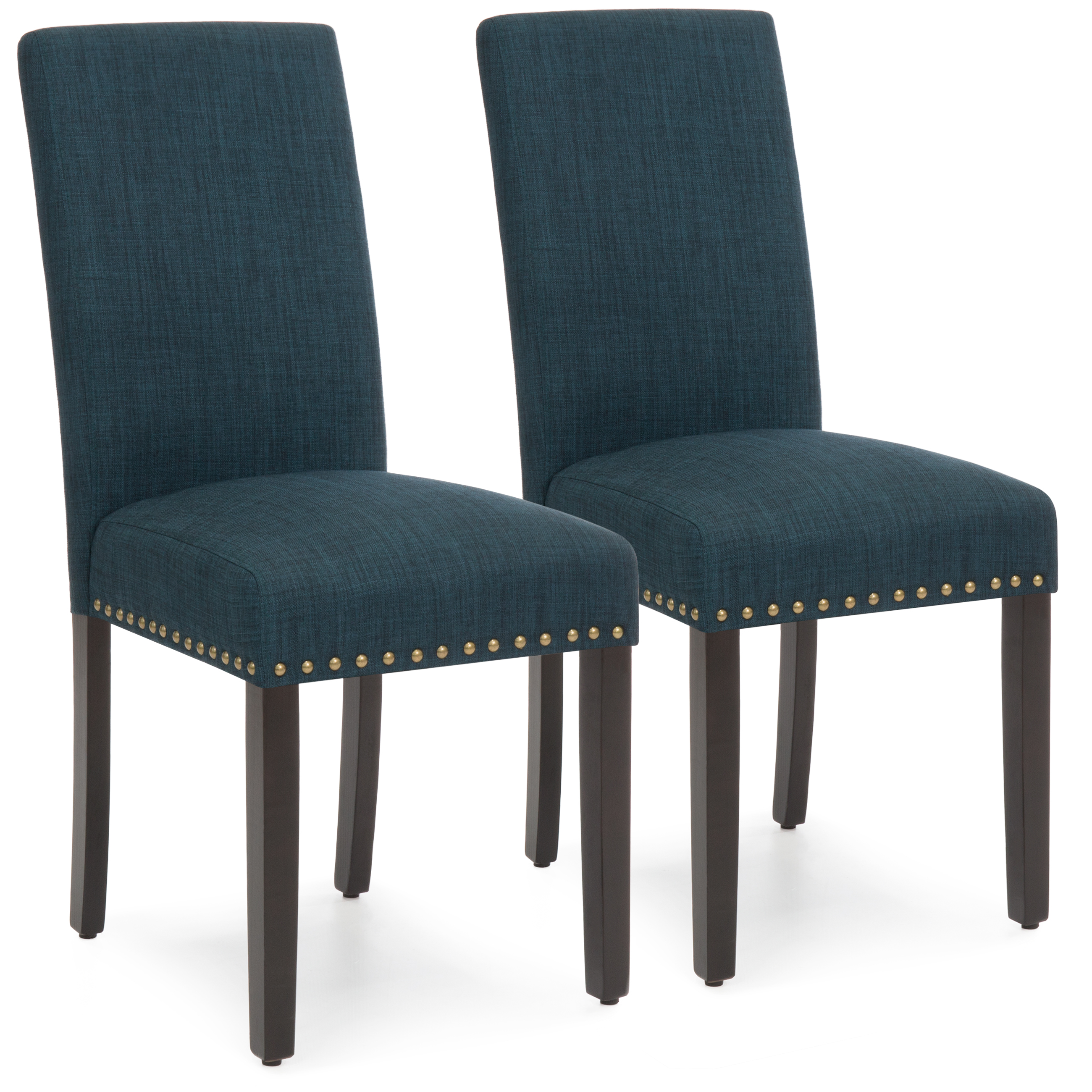 Best Choice Products Set of 2 Modern Contemporary Nail Head Upholstered Fabric Parsons Dining Chairs (Graphite Blue) by Best Choice Products
