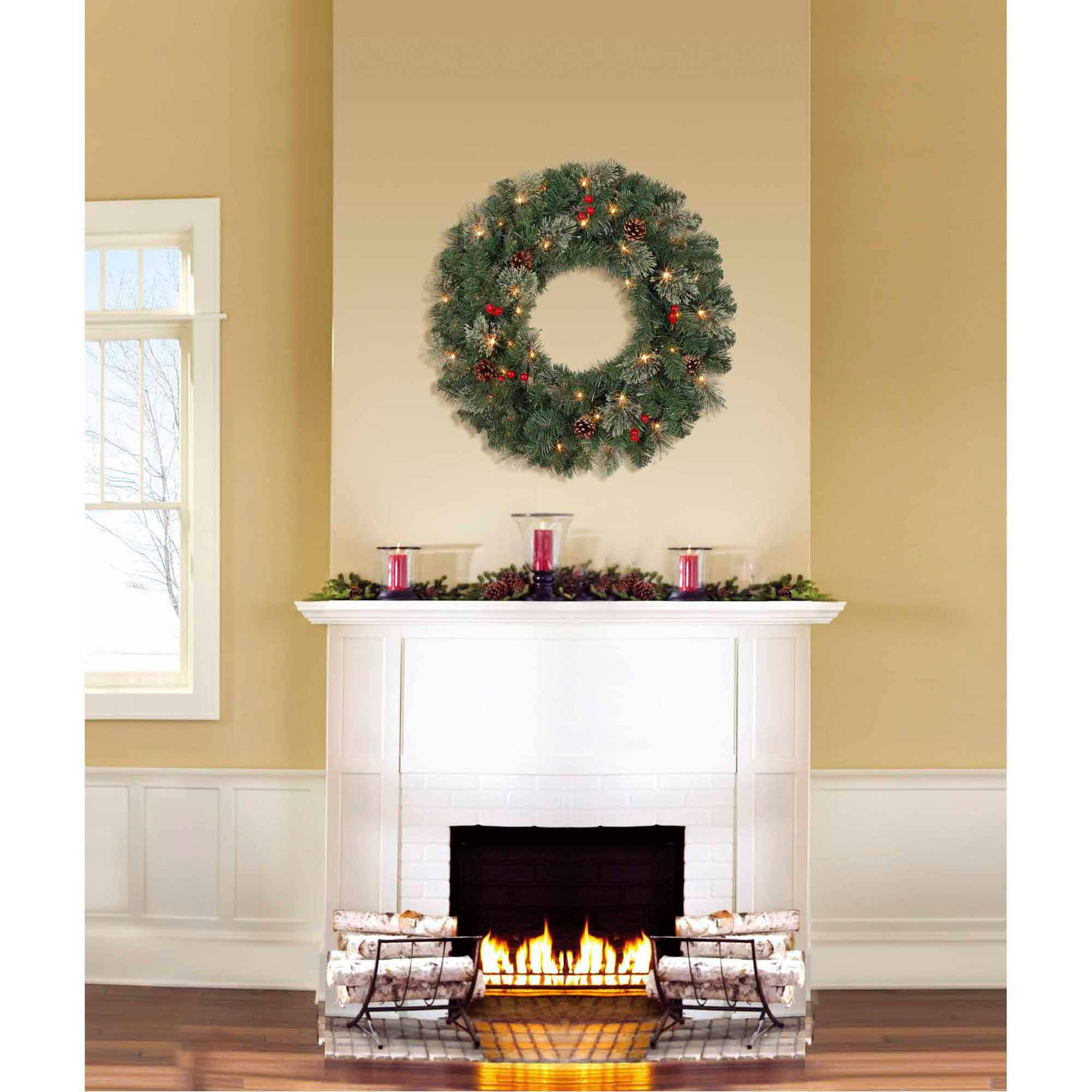 "Holiday Time Pre-Lit 24"" Jasper Pine Artificial Christmas Wreath, Clear Lights"