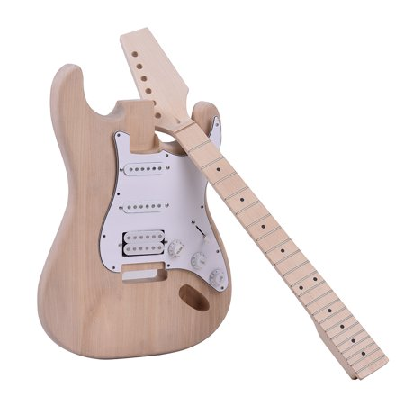Muslady ST Style Unfinished DIY Electric Guitar Kit Basswood Body Maple Neck Maple Fingerboard Build Your Own