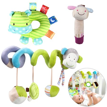 Donkey Pull Toy - YEAHIBABY 3Pcs Money Infant Baby Activity Spiral Bed Stroller Toy Donkey Hippo Soft Plush Hand Rattle Toys Cute Baby Educational Toys