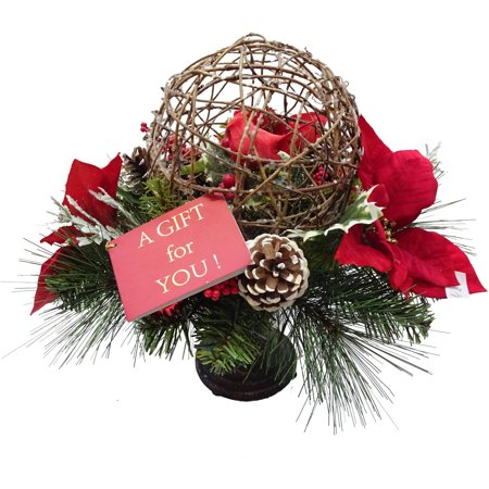 Christmas Decorated Grapevine Ball with Poinsettias