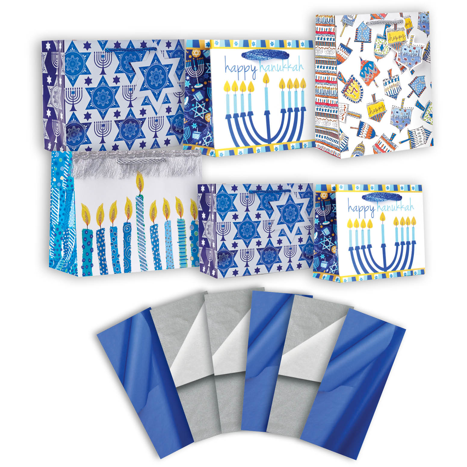 Jillson & Roberts Gift Bag & Tissue Assortment, Hanukkah Designs (6 Bags)