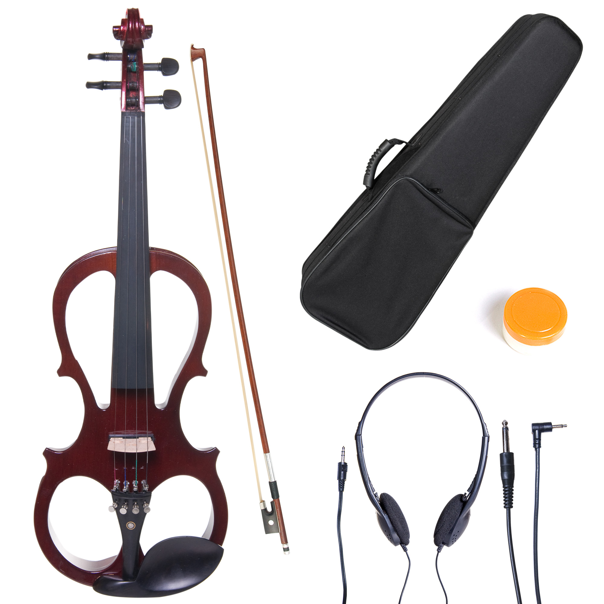 Cecilio Full Size Left-Handed Solid Wood Electric Silent Violin with Ebony Fittings-L4/4CEVN-L1NA Metallic Mahogany