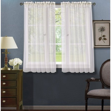 2pc Ivory Solid Sheer Voile Window Curtain Set, Two (2) Rod Pocket Panels 55