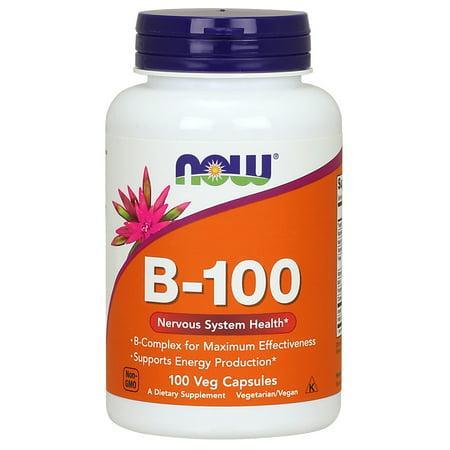 NOW Supplements, Vitamin B-100, 100 Veg Capsules 50 Capsules Vitamin Supplements