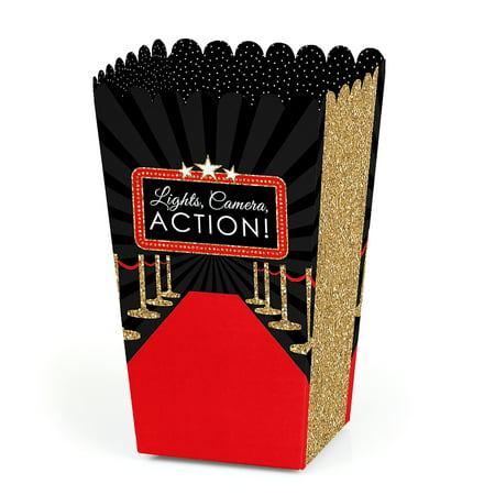 Red Carpet Hollywood - Movie Night Party Favor Popcorn Treat Boxes - Set of 12](Movie Party)