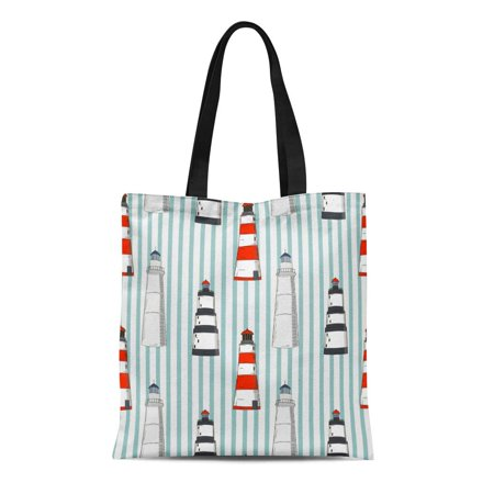 ASHLEIGH Canvas Tote Bag Blue Abstract Pattern Different Lighthouses Stripped Red Beach Boat Reusable Shoulder Grocery Shopping Bags Handbag