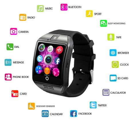 Bluetooth Smart Watch Phone Mobile Phone Unlocked Universal GSM Bluetooth 4.0 NFC Music Player Camera Calendar Stopwatch Sync for Android iPhone Google Huawei Smartphones Plus Backup Battery ()
