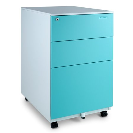 Aurora Modern SOHO Design 3-Drawer Metal Mobile File Cabinet with Lock Key Sliding Drawer, Multiple Colors ()