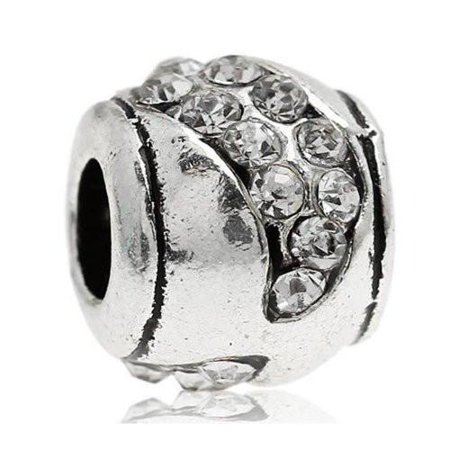 - Clear  Crystals Pave Charm European Bead Compatible for Most European Snake Chain Bracelet