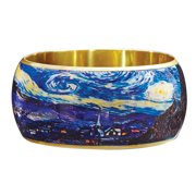 "Women's Van Gogh Starry Night Bangle Bracelet - 1 1/2"" Wide Lacquered On Brass"