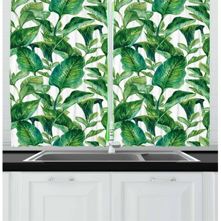Leaf Curtains 2 Panels Set, Romantic Holiday Island Hawaiian Banana Trees Watercolored Image, Window Drapes for Living Room Bedroom, 55W X 39L Inches, Dark Green and Forest Green, by Ambesonne ()