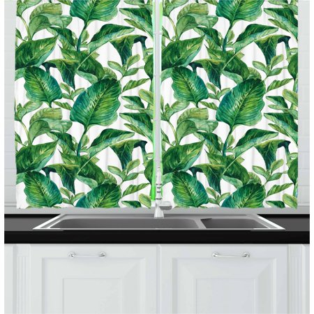 Leaf Curtains 2 Panels Set, Romantic Holiday Island Hawaiian Banana Trees Watercolored Image, Window Drapes for Living Room Bedroom, 55W X 39L Inches, Dark Green and Forest Green, by Ambesonne