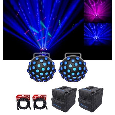 2) Chauvet DJ Line Dancer DMX Rotating Dance Floor Effect Lights+Bags+DMX Cables