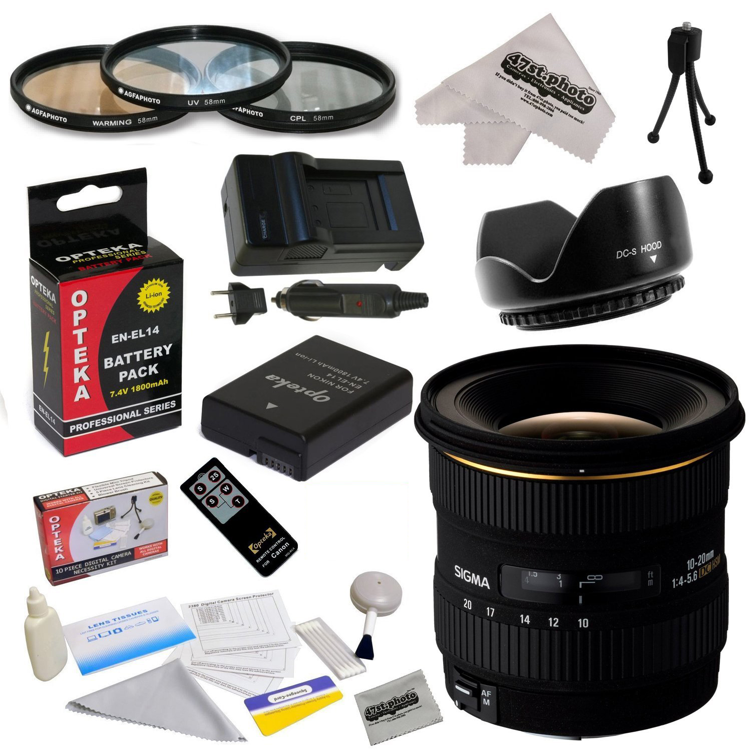 Sigma 10-20mm f/4-5.6 EX DC HSM Autofocus Lens for Nikon D3200 D3300 D5200 D5300 with 77MM 3 Piece Pro Filter Kit, EN-EL14 1800MAH, Charger, Remote, Cleaning Kit, Microfiber Cloth!