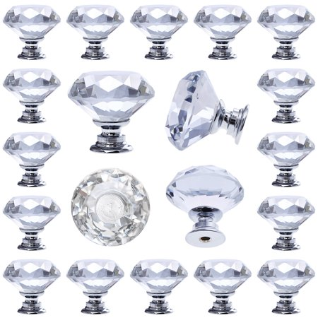 12 pcs Crystal Glass Drawer Pulls Decorative Knobs for Kitchen Bathroom Cabinet, Dresser and Cupboard Decorative Wood Knobs