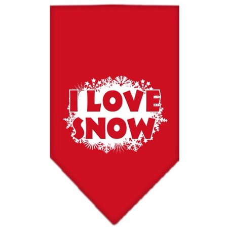 I Love Snow Screen Print Bandana Red Small