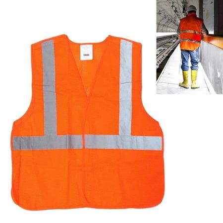 Reflective Safety Vest High Visibility Orange Mesh Jacket Security Work Surveyor