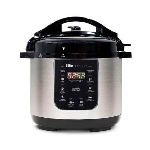 Elite Platinum 6-Quart Electric Pressure Cooker with Stainless Steel Pot, Stainless Steel