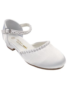 Little Things Mean A Lot Girls White Satin Mary Jane Clog Dress Shoe with Rhinestones and Heel (Little Girls, Big Girls)