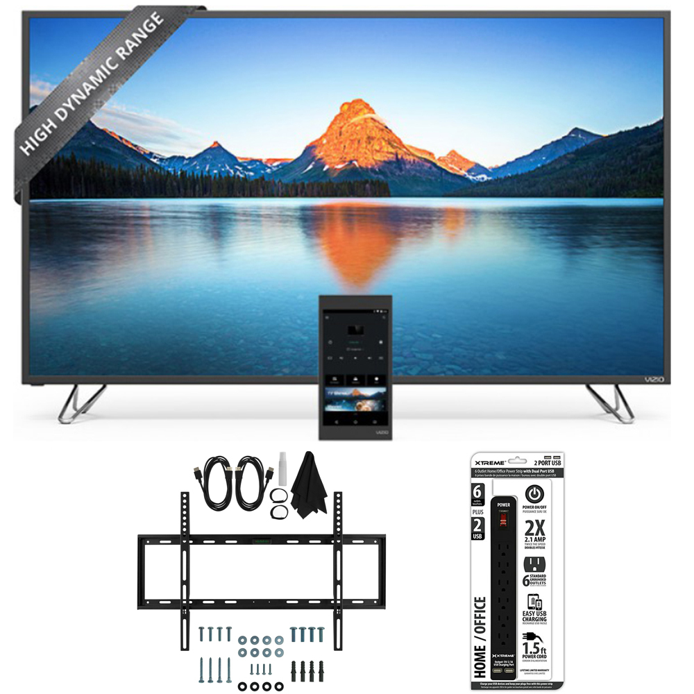 Vizio M50-D1 - 50-Inch 4K SmartCast HDR Ultra HD TV Slim Flat Wall Mount Bundle includes TV, Slim Flat Wall Mount Ultimate Kit and 6 Outlet Power Strip with Dual USB Ports