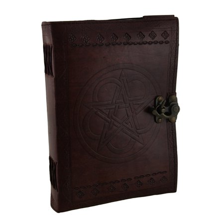 Large Embossed Leather Celtic Pentagram 184 Leaf Diary Journal