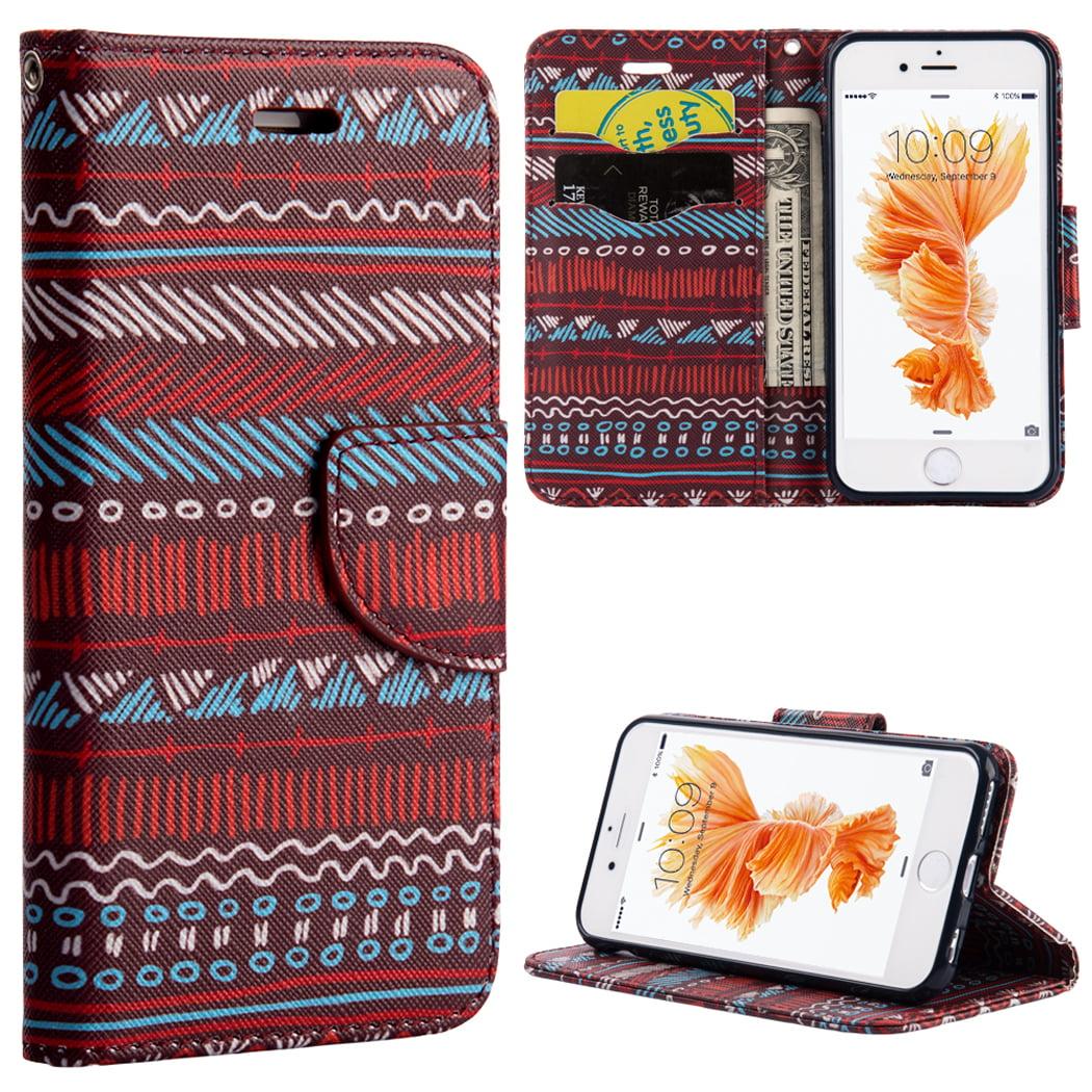 Apple Iphone 6 / 6S PLUS Trendy Leather Flip Wallet Case - BOHO Chic